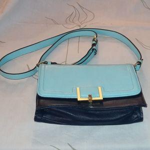 Merona blue color block gold detail shoulder bag